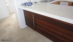 Kitchen or Bath Cabinets Makeover (slats of wood were simply attached to the front of the cabinet)