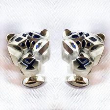 Sterling silver hand made PANTHER HEAD cufflinks with blue enamel and... Lot 350