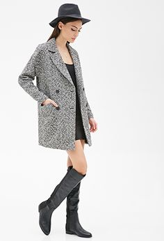 Oversized Double-Breasted Tweed Coat | Forever21 - 2000120719
