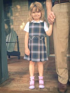 They can put her in a uniform, but they can't take away her style. The @pedipedfootwear Liza's from @parakeetfeet jazz up this school uniform for the first day of Kindergarten.