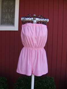 Vintage 1970s Pink Romper Playsuit by BettyBakerBoutique on Etsy Strapless  Romper 68c14b4f7