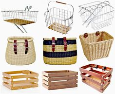 It's time for a roundup of cute bicycle baskets and I found some unique and vintage styled baskets and crates to share with you. basket and crate