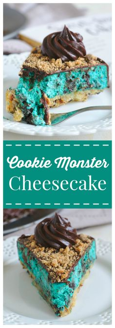 Cookie Monster Cheesecake – A gorgeous and whimsical blue cheesecake! Chocolate chip cookie crust, a blue cookies and cream cheesecake filling, topped with a creamy chocolate ganache and crushed chocolate chip cookies! #cheesecake #cookies #oreo #chocolate #dessert