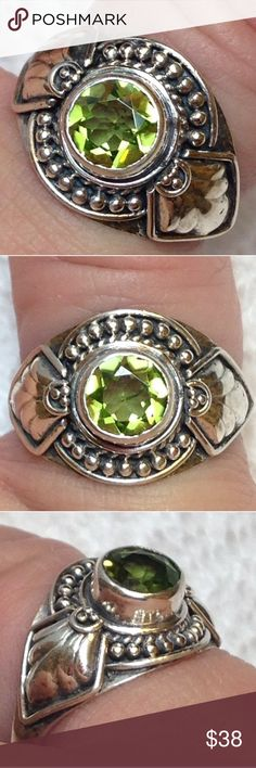 NWT! Heibi Peridot .925 Artisan Ring + Free gift Size 7.5 Brand New! TAG ON! MINED 1.75 carat Genuine mined HEBEI PERIDOT SOLITAIRE RING .925 STERLING SILVER (nickel free) (fancy faceted 7 mm round) Adorn with skillful Silversmithing, lovely Halo of braided rope, shields on both shoulder sides . Very ornate and a Bali Artisan designed this setting of the ring  MSRP: $199.99 . BRAND NEW ! TAGS ON!   PLUS comes with a FREE brand new thank you GIFT! . Please check my other posted listings…