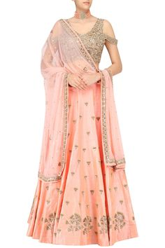 Nude Peach gingko embroidered lehenga skirt and cold shoulder blouse set available only at Pernia's Pop Up Shop.