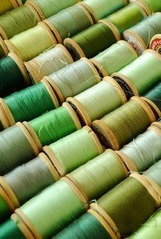 VIntage spools of green thread