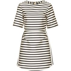 TOPSHOP Satin Stripe A-Line Dress (460 BRL) ❤ liked on Polyvore featuring dresses, topshop, vestidos, stripe, cream, white day dress, satin dress, cream dress, topshop dresses and striped dresses