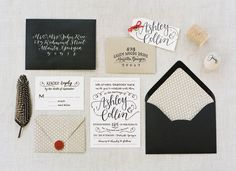 kraft, black, and white... with a pop of red | Ali Harper #wedding
