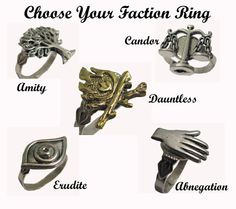 DIVERGENT FACTION RING - Divergent Inspired Adjustable Ring - Based on Veronica Roth's Book Series on Etsy, $12.00