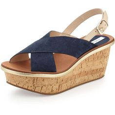 Diane von Furstenberg Maven Suede Wedge Sandal (10,340 THB) ❤ liked on Polyvore featuring shoes, sandals, navy, ankle wrap sandals, open toe wedge sandals, metallic platform sandals, wedges shoes and navy wedge sandals