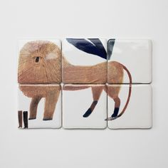 Completely compelling and strangely covetable: Hand-painted tiles from London ceramicist and illustrator Laura Carlin, depicting wild beasts (the truly obsessed can commission an entire tile mural by special order). Ceramic Pottery, Ceramic Art, Ceramic Studio, Laura Carlin, Lion Illustration, Fauna, Graphic, Handmade Crafts, Illustrators