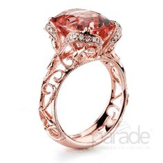 Peach and rose gold with milgrain etched detailing. r2926 from Parade Design. #ring #cocktail