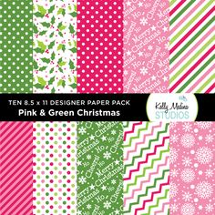 Pink and Green Stripes and Dots - Designer Paper Pack - Digital Elements for Cards, Stationery, Backgrounds and Paper Crafts and Products