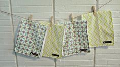 Baby Burp Cloths Set of 4-Green Chevron & by SouthernPeachShop