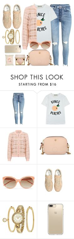 """Peaches"" by monmondefou ❤ liked on Polyvore featuring Être Cécile, Tory Burch, Linda Farrow, Maison Margiela, Anne Klein, Speck, Stila, Aveeno, Pink and peach"
