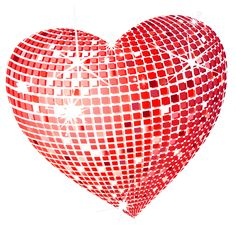 Red Disco Heart PNG Clipart Picture
