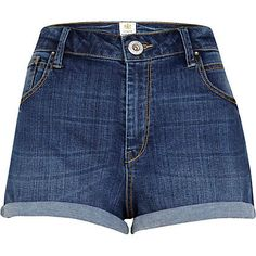 RIVER ISLAND - Mid wash turn up denim shorts