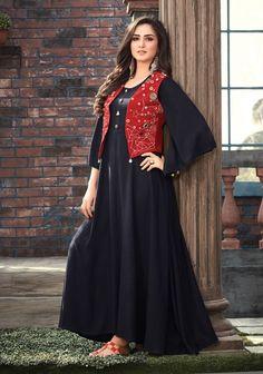 Latest Kurti With Jackets Design - The handmade craft Pakistani Fashion Casual, Pakistani Dresses Casual, Indian Fashion Dresses, Pakistani Dress Design, Indian Designer Outfits, Designer Dresses, Casual Dresses, Muslim Fashion, Stylish Dresses For Girls