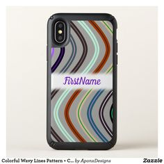 Colorful Wavy Lines Pattern Custom Name - pattern sample design template diy cyo customize Cool Phone Cases, Iphone Case Covers, Line Patterns, First Names, Cool Gifts, Iphone 11, Colorful, Diy Funny, Templates