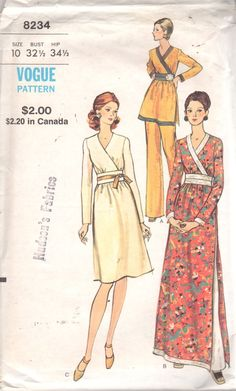 Vogue 8234 1970s  Misses Midriff Evening Dress Tunic and Pants Pattern Womens Vintage  Sewing Pattern Size 10 Bust  32