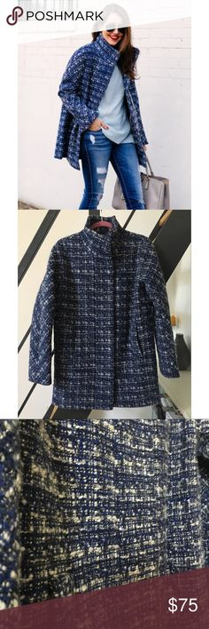 "J Crew Factory Womens Blue Tweed City Coat Lovely jacket from Jcrew Factory- worn one season, being ""tweed"" this jacket does show some overall pilling but lots of life left. J. Crew Jackets & Coats"
