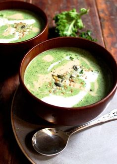 Little Green Goddess Soup. Insanely delicious and incredibly good for you this soup is full of broccoli, kale and spinach and creamy coconut milk.