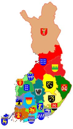 Regions and Coats of Arms, Finland << is it me or is it a bit discriminatory that the Sami territory's coat of arms is a cave man? Lappland, Finnish Language, Finland Travel, Templer, Fjord, Flags Of The World, Family Crest, Historical Maps, My Heritage