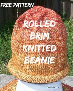 Charity Pattern: Rolled Brim Hat - Fabric Arts - Charity Pattern: Rolled Brim Hat This knitted rolled brim hat is the perfect charity knitting pattern for cancer or chemo patients. Beanie Knitting Patterns Free, Knit Beanie Pattern, Loom Knitting, Hat Patterns, Free Knitting, Baby Hats Knitting, Knitting For Charity, Knitting For Kids, Knitting Projects