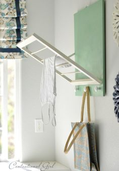 Foldable clothes dryer for laundry room. Plus other laundry room hacks.