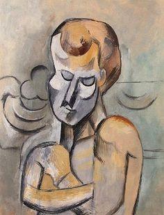 Homme nu aux bras croisés, par Pablo Picasso, Gouache, aquarelle, crayon, papier collé sur carton 65,2 x 49,2 cm 1909