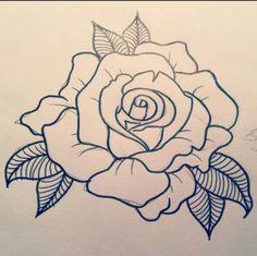 Ideas For Tattoo Old School Rose Design Tat Hawaiianisches Tattoo, Henna Tattoos, Neck Tattoos, Flower Tattoos, Tattoo Drawings, Arabic Tattoos, Tattoo Thigh, Tattoo Girls, Girl Tattoos