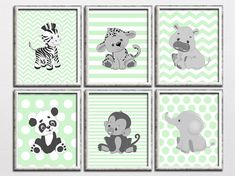 Nursery printable safari art set, mint, gray, nursery jungle art, monkey, hippo, elephant, zebra, animals art, kids room, Download PLEASE READ Please note, this listing is for an INSTANT DOWNLOAD of DIGITAL FILES - no print will be mailed, this listing does not include a