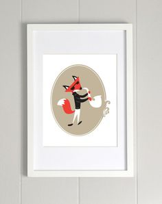 Jazz Fox with Saxophone Print Poster 8x10 FREE by amiableindeed, $12.00