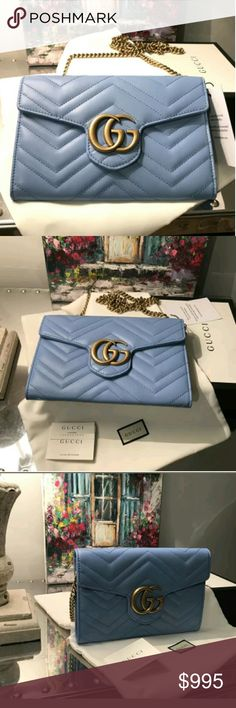 Gucci Gg Marmont Gucci GG Marmont Matelasse Bag  100% Authentic   Sold out light blue color  New with tags  Box, dust bag, authenticity cards included   Outer Composition: Leather 100%   Lining Composition: Leather 100%   Outer Composition: Metal 100%    PRODUCT DETAILS  The GG Marmont chain mini bag has a softly structured shape and a flap closure with Double G hardware. The hardware is inspired by an archival design from the '70s. Made in matelassé chevron leather.  Light blue matelassé…