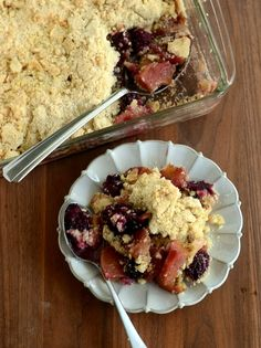 ThisApple Blackberry Crumble is a comforting dessert made with lots of fruit and topped with crisp streusel - and this recipe makes enough to share! Blackberry And Apple Crumble, Apple Crumble Recipe, Yummy Treats, Delicious Desserts, Dessert Recipes, British Desserts, Comfort Food, Recipe Link, Desserts To Make