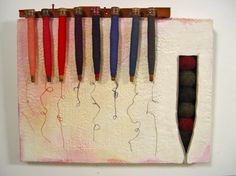 "cotton and wool  20x24x2"" Clare Murray Adams - Bobbin and spindle series"