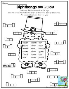 Diphthongs ow and ou- Box up the words. A FUN way to build LITERACY in 2nd Grade!