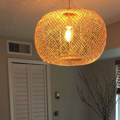 Bamboo Pendant Light, Repurposed Fish Trap Ceiling Lamp, Asian Oblong and Round Woven Bamboo Hanging Lamp, Boho Chinese Lantern / Bamboo Pendant Light, Round Pendant Light, Rustic Pendant Lighting, Bamboo Lamp, Ceiling Canopy, Ceiling Lamp, Ceiling Lights, Trap, Wire Installation