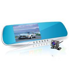 New 4.3 inch car rearview mirror dvr dual lens car dvr full hd 1080p video recorder car camera reverse image vehicle dash cam