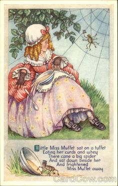 Chrome Postcard Little Miss Muffet Sat on a Tuffet Eating Her Curds and Whey Nursery Rhymes Nursery Rhymes Poems, Nursery Rhyme Characters, Rhymes For Kids, Children Rhymes, Pomes, Vintage Nursery, Vintage Art, Mother Goose, Children's Book Illustration