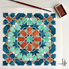 a little test painting using the Kuretake Gansai Tambi Islamic Art Pattern, Arabic Pattern, Geometry Pattern, Geometry Art, Pattern Art, Tile Art, Mosaic Art, Motifs Islamiques, Arabesque