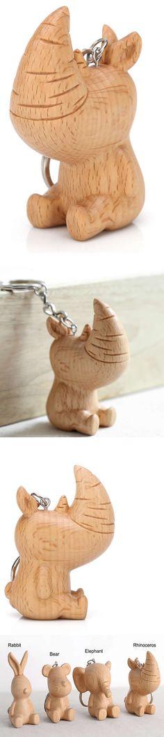 Wooden Rhinoceros Shaped  Keyring Keychain bag Ornament - Wood Rhinoceros Shaped   Christmas Ornament,  Animal Shaped Keyring Keychain Ornament  for keys,bag