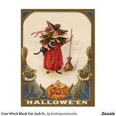 Cute Witch Black Cat Jack O' Lantern
