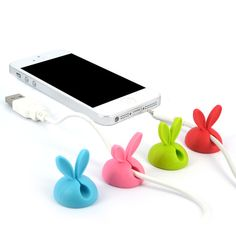 4PCS/lot Cable Clip Desk Tidy Wire Drop Lead Cord Holder Secure Table Cute Rabbit Shape Cable Organizer Winder for Earphone