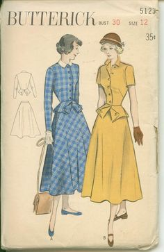 1950s Vintage Pattern - Two Piece Dress with Button Back Peplum Detail - BUTTERICK 5123 - Uncut on Etsy, $19.50