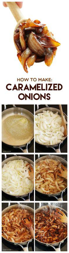 CEBOLLAS CARAMELIZADAS - Rehogar en manteca y oliva, cebollas cortadas en pluma. Hacerlo a fuego bajo . Cuando ablandan un poco, agregar, 1 ó 2 cucharadas de azúcar ( puede ser rubia), y un chorro de aceto balsámico. Cocinar hasta que tomen buen color. Como guarnición, en una bruschetta, acompañando el jamón de un sandwich ... siempre imbatibles !!!
