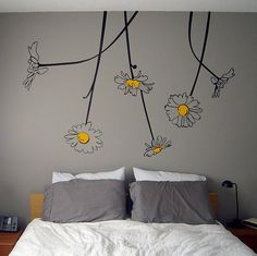 Surface Collective's Wall Tattoos / Wall Decals / Laptop Decals - Product - Oopsa-Daisies from Surface Collective Inc. Saved to Bedroom. Wall Design, Room Decor, Bedroom Decor, Home, Wall Painting, Home Decor, My Room, Room, Bedroom Wall