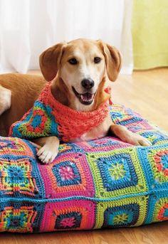 Crochet dog bed and bandana