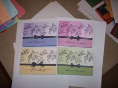Cards are using paint chip samples from Home Depot.  I stamped them with either black or white StazOn. So easy and quick!