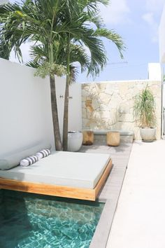 Poolside naps at 😴 ⠀⠀⠀⠀⠀⠀⠀⠀ Backyard Pool Designs, Backyard Patio, Outdoor Pool, Outdoor Spaces, Outdoor Living, Patio Design, Kleiner Pool Design, Small Pool Design, Small Pools